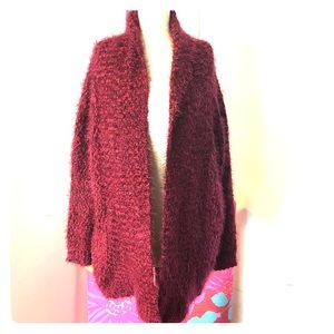 Forever 21 Red Fuzzy Open cardigan size Small